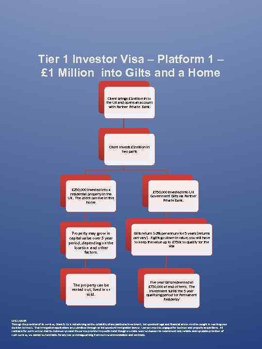 Tier 1 Investor Visa – Platform 1 – £ 1 Million into Gilts and