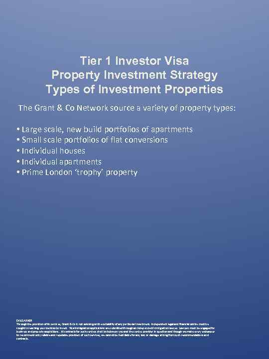 Tier 1 Investor Visa Property Investment Strategy Types of Investment Properties The Grant &