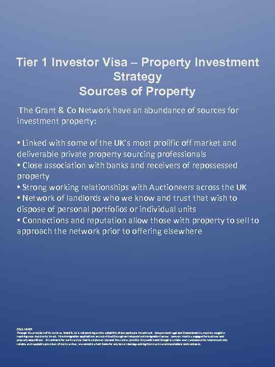 Tier 1 Investor Visa – Property Investment Strategy Sources of Property The Grant &