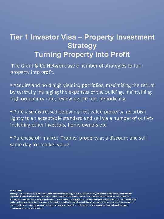Tier 1 Investor Visa – Property Investment Strategy Turning Property into Profit The Grant