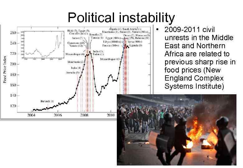 Political instability • 2009 -2011 civil unrests in the Middle East and Northern Africa