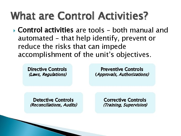 What are Control Activities? Control activities are tools – both manual and automated –