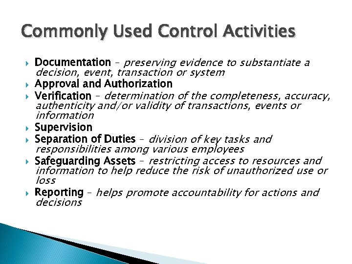 Commonly Used Control Activities Documentation – preserving evidence to substantiate a decision, event, transaction