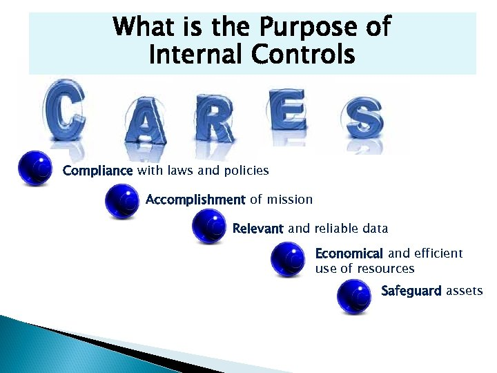 What is the Purpose of Internal Controls Compliance with laws and policies Accomplishment of