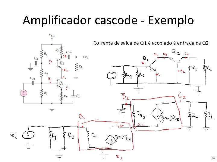 Amplificador cascode - Exemplo Corrente de saída de Q 1 é acoplado à entrada