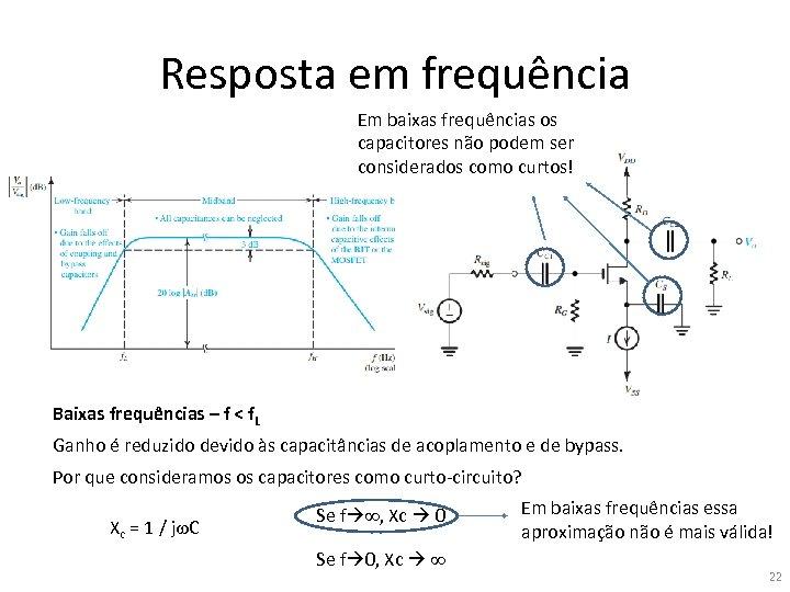Resposta em frequência Em baixas frequências os capacitores não podem ser considerados como curtos!