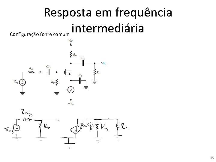 Resposta em frequência intermediária Configuração fonte comum 45