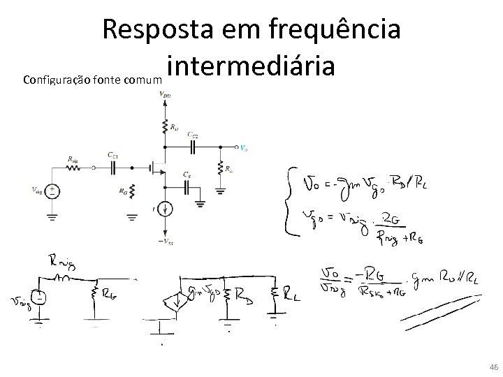 Resposta em frequência intermediária Configuração fonte comum 46