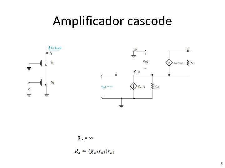 Amplificador cascode Rin = 5