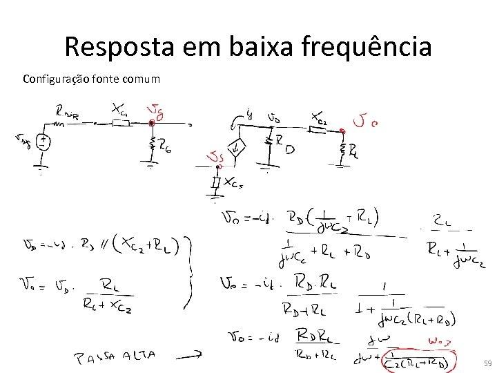 Resposta em baixa frequência Configuração fonte comum 59