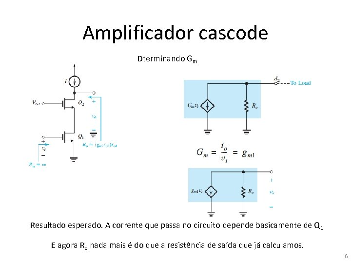 Amplificador cascode Dterminando Gm Resultado esperado. A corrente que passa no circuito depende basicamente