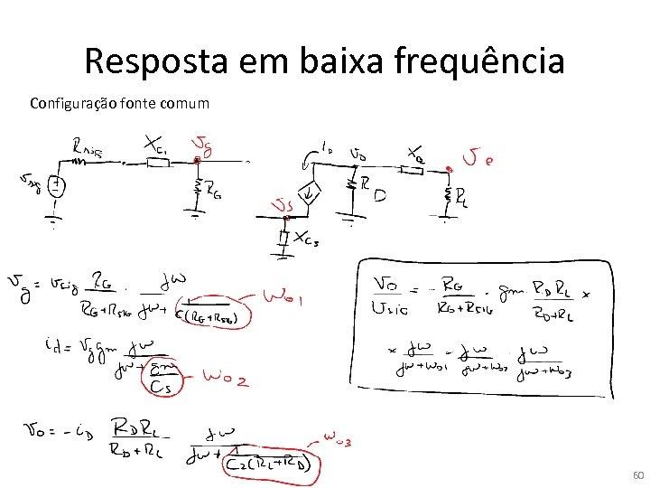 Resposta em baixa frequência Configuração fonte comum 60