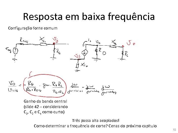Resposta em baixa frequência Configuração fonte comum Ganho da banda central (slide 42 –