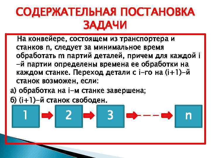 СОДЕРЖАТЕЛЬНАЯ ПОСТАНОВКА ЗАДАЧИ На конвейере, состоящем из транспортера и станков n, следует за минимальное