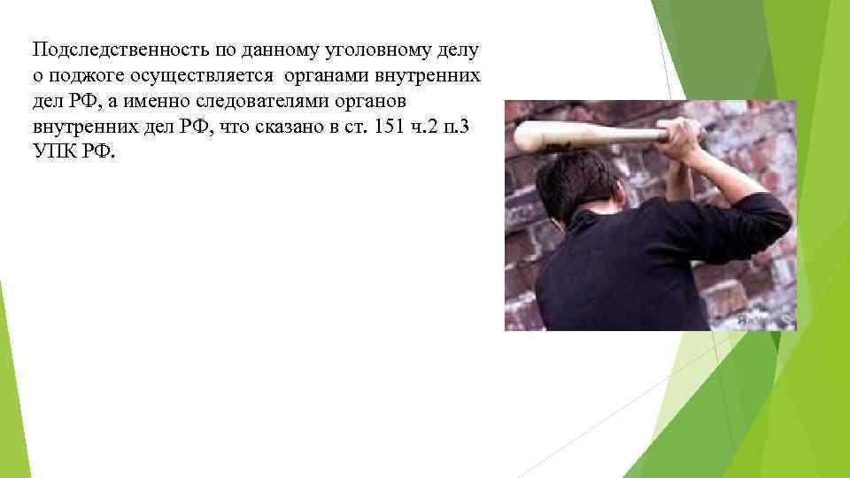Подследственность по данному уголовному делу о поджоге осуществляется органами внутренних дел РФ, а именно