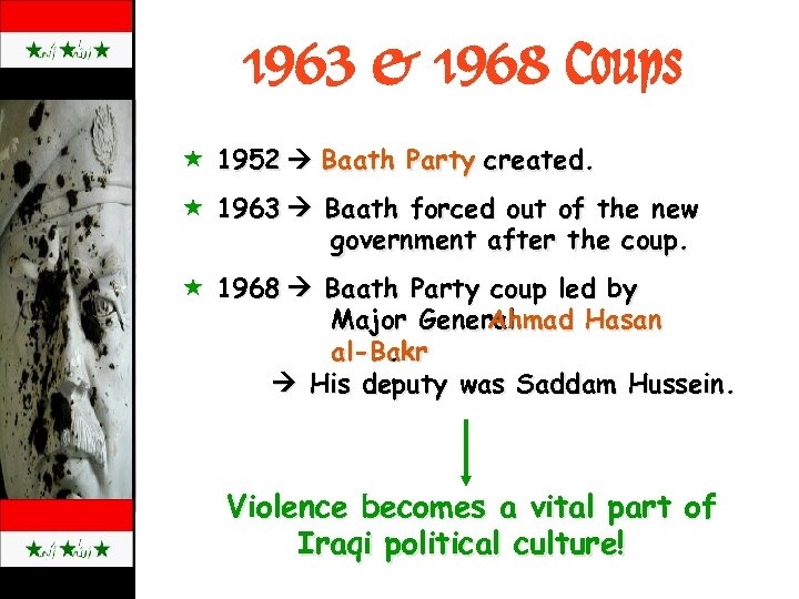 1963 & 1968 Coups « 1952 Baath Party created. « 1963 Baath forced out
