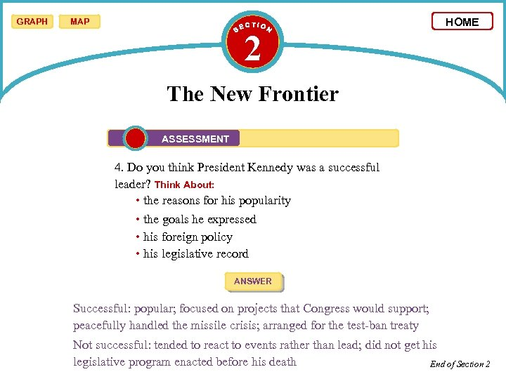 GRAPH MAP 2 HOME The New Frontier ASSESSMENT 4. Do you think President Kennedy