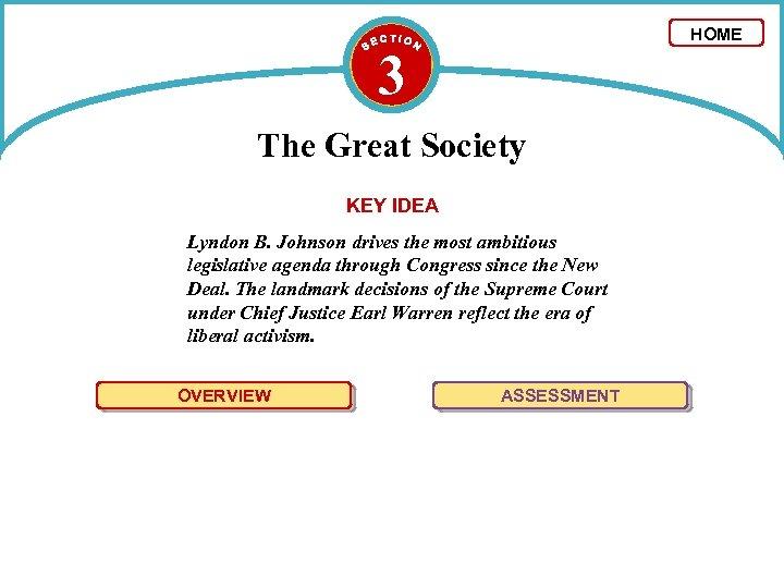 HOME 3 The Great Society KEY IDEA Lyndon B. Johnson drives the most ambitious