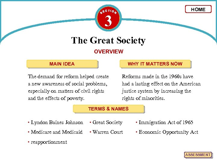 HOME 3 The Great Society OVERVIEW MAIN IDEA WHY IT MATTERS NOW The demand