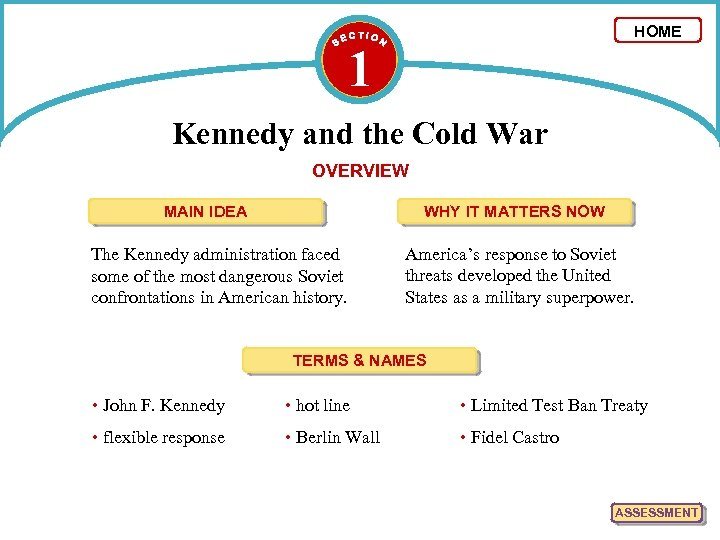 HOME 1 Kennedy and the Cold War OVERVIEW MAIN IDEA WHY IT MATTERS NOW