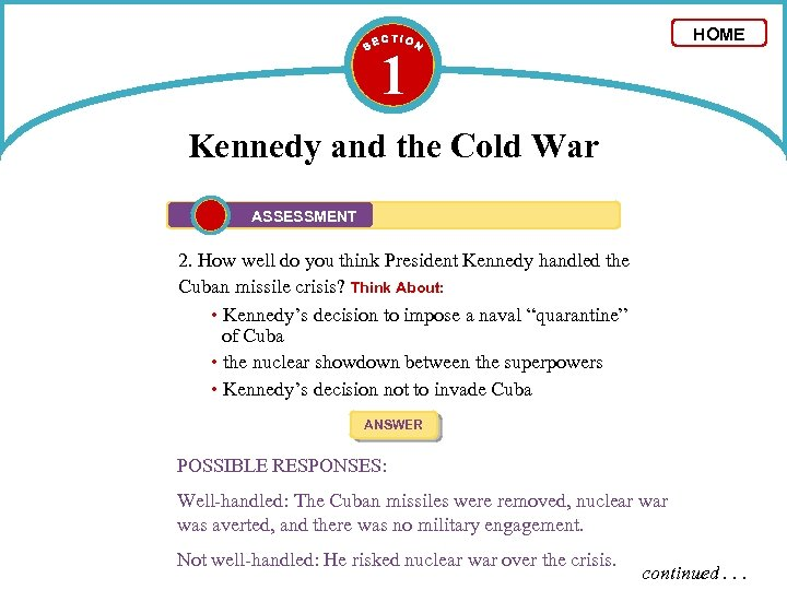 HOME 1 Kennedy and the Cold War ASSESSMENT 2. How well do you think