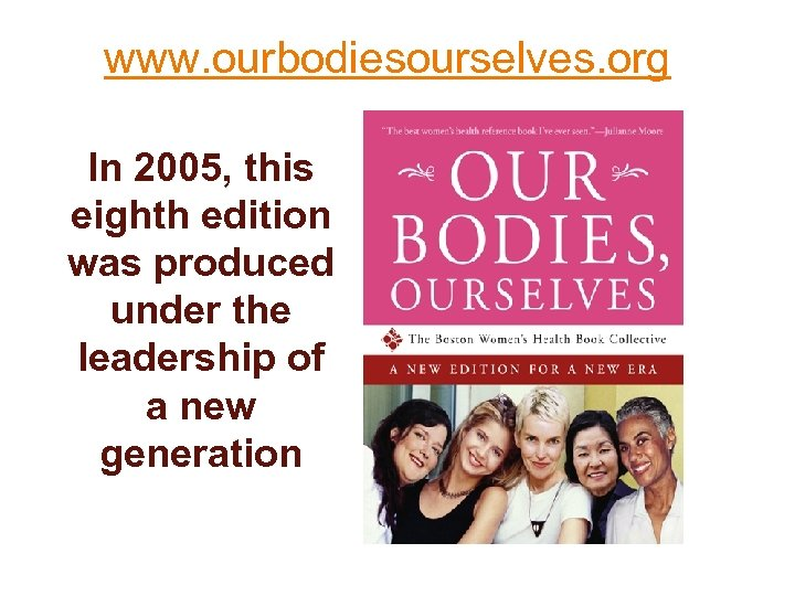 www. ourbodiesourselves. org In 2005, this eighth edition was produced under the leadership of