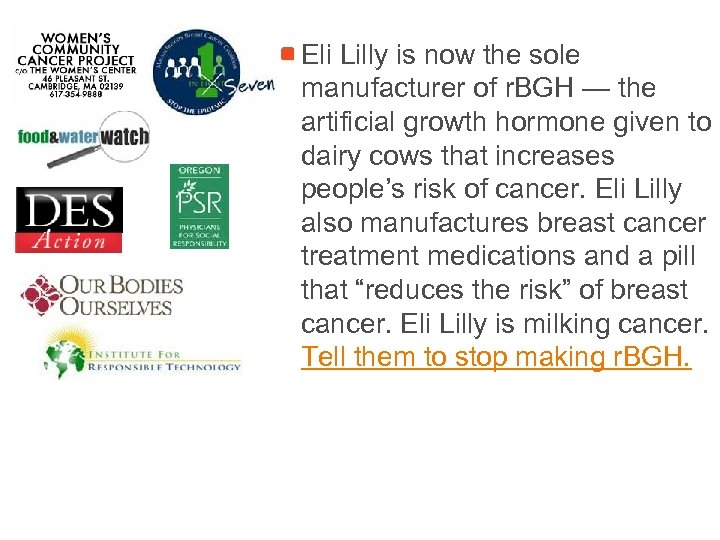 Eli Lilly is now the sole manufacturer of r. BGH — the artificial