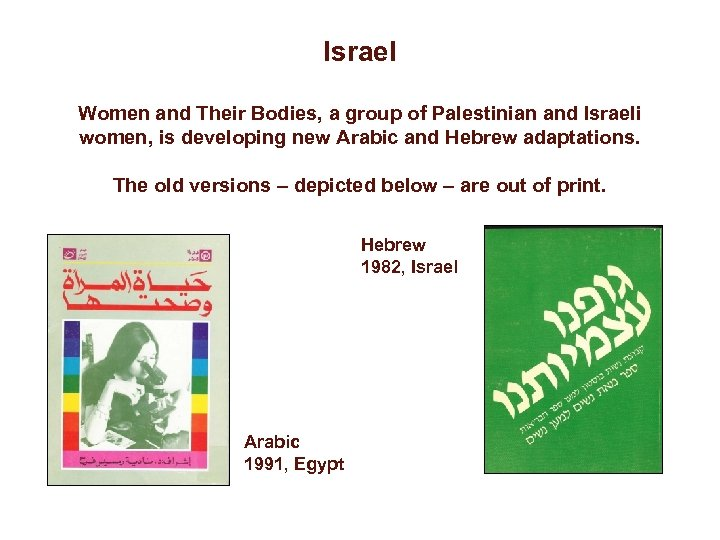 Israel Women and Their Bodies, a group of Palestinian and Israeli women, is developing