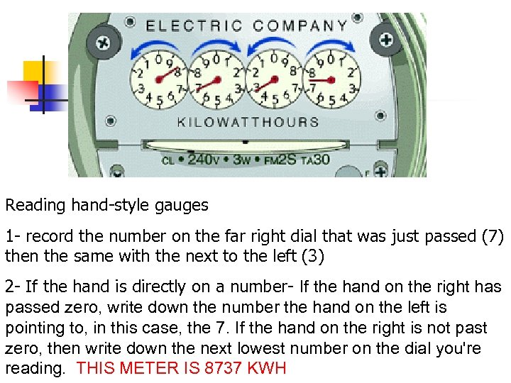 Reading hand-style gauges 1 - record the number on the far right dial that