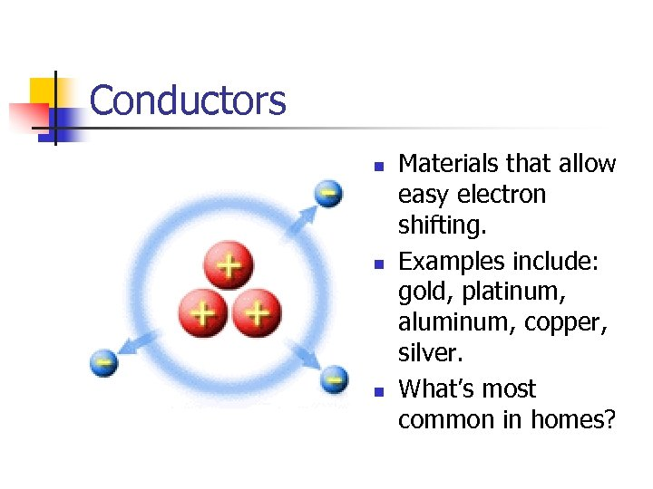 Conductors n n n Materials that allow easy electron shifting. Examples include: gold, platinum,