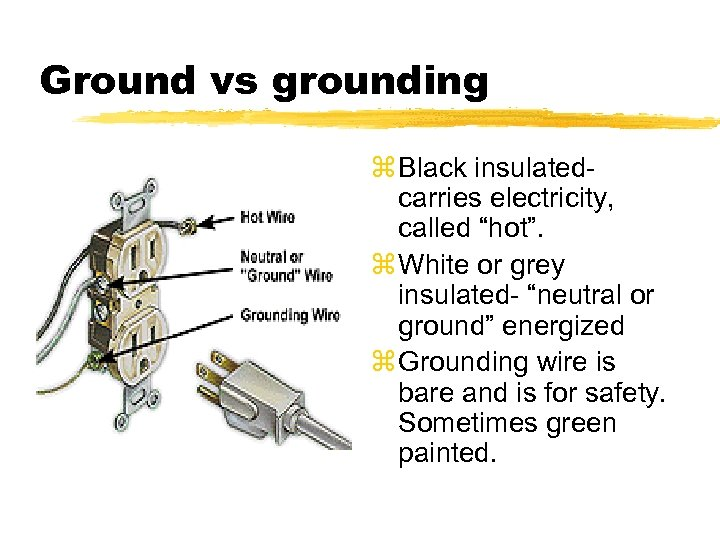 """Ground vs grounding z Black insulated- carries electricity, called """"hot"""". z White or grey"""