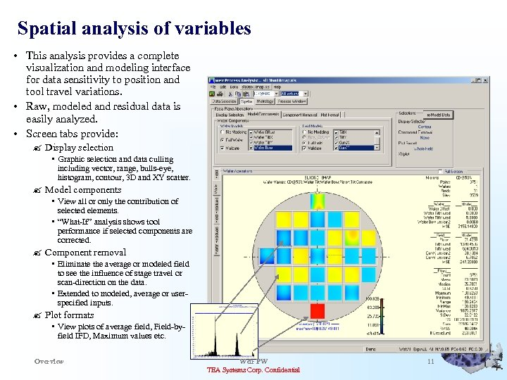 Spatial analysis of variables • This analysis provides a complete visualization and modeling interface