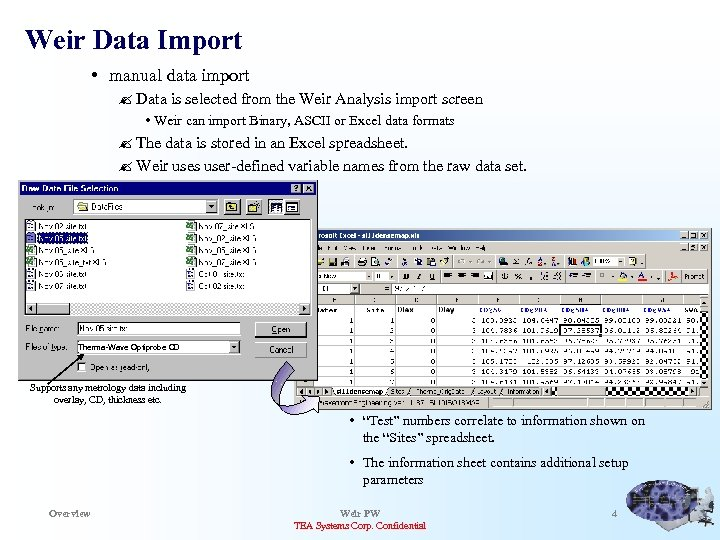 Weir Data Import • manual data import ? Data is selected from the Weir