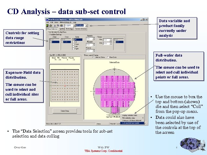 CD Analysis – data sub-set control Data variable and product family currently under analysis