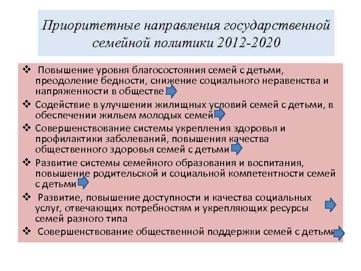 Приоритетные направления государственной семейной политики 2012 -2020 v Повышение уровня благосостояния семей с детьми,