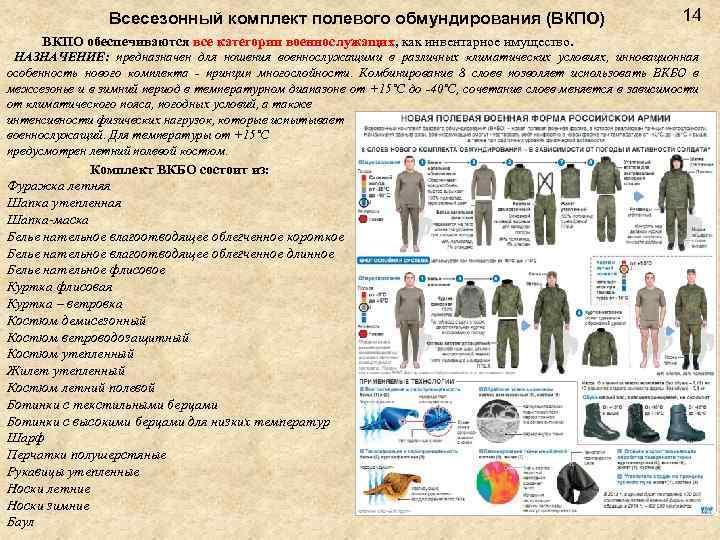 Всесезонный комплект полевого обмундирования (ВКПО) 14 ВКПО обеспечиваются все категории военнослужащих, как инвентарное имущество.