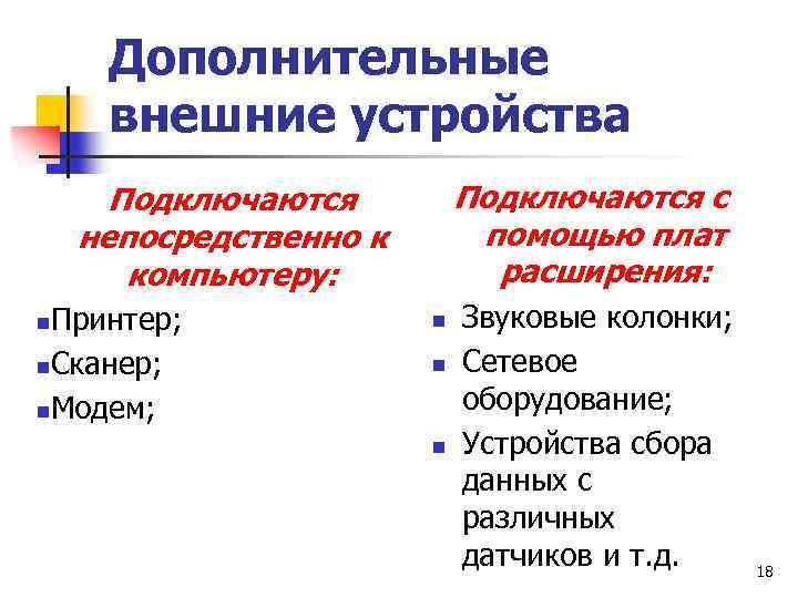 Дополнительные внешние устройства Подключаются с помощью плат расширения: Подключаются непосредственно к компьютеру: Принтер; n.