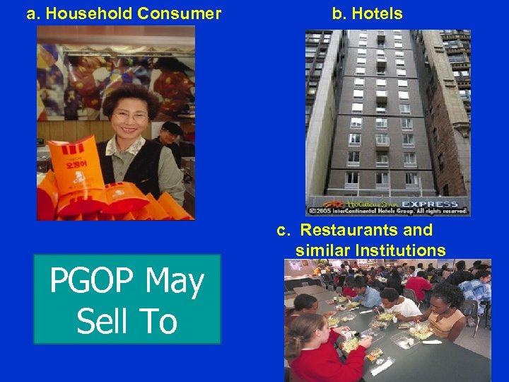 a. Household Consumer PGOP May Sell To b. Hotels c. Restaurants and similar Institutions