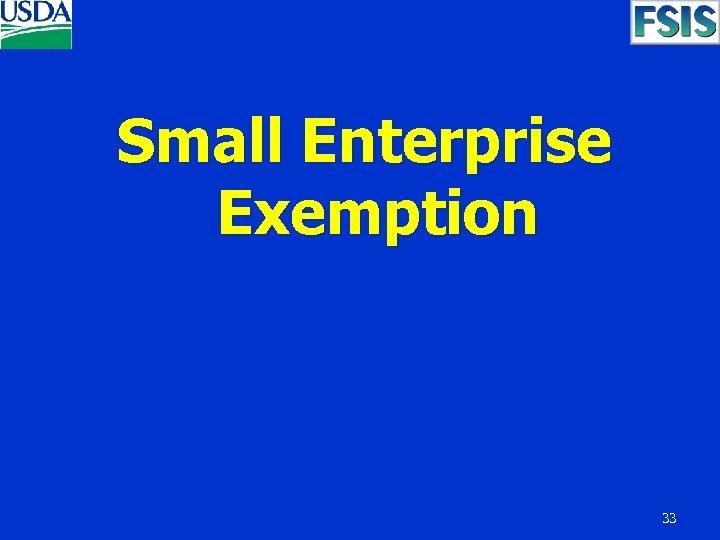 Small Enterprise Exemption 33