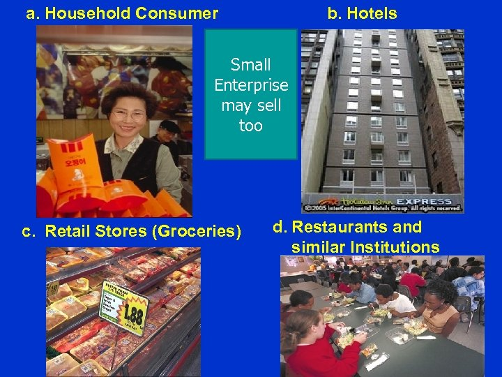 a. Household Consumer b. Hotels Small Enterprise may sell too c. Retail Stores (Groceries)