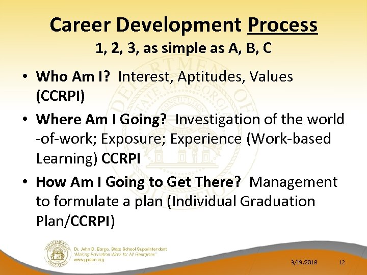 Career Development Process 1, 2, 3, as simple as A, B, C • Who