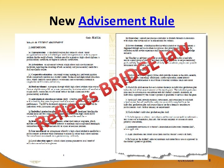 New Advisement Rule ec fl e R B ts ID R E G w