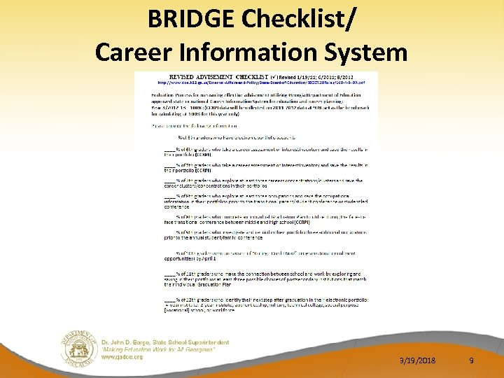 BRIDGE Checklist/ Career Information System 3/19/2018 9