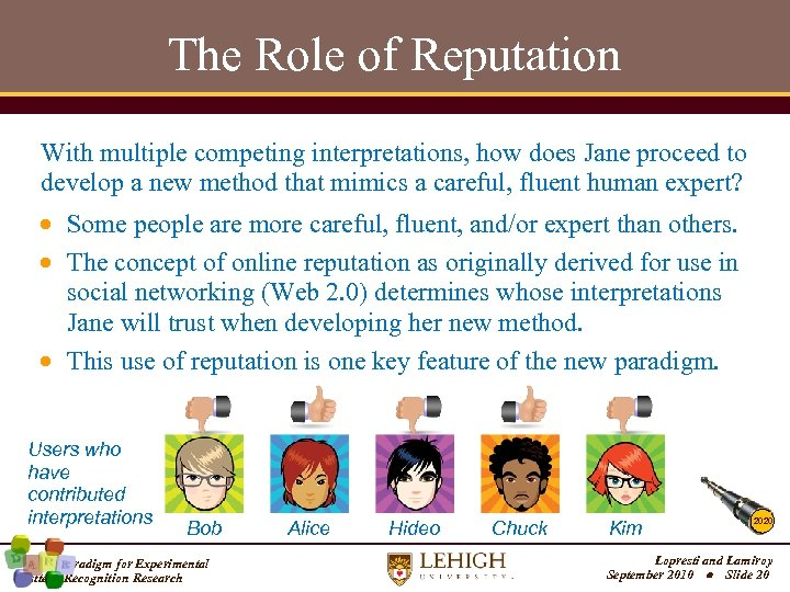The Role of Reputation With multiple competing interpretations, how does Jane proceed to develop