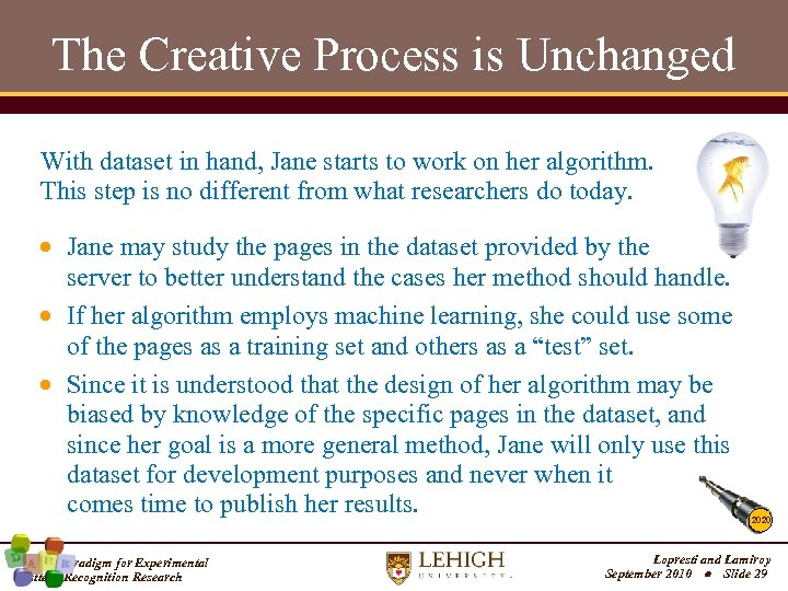 The Creative Process is Unchanged With dataset in hand, Jane starts to work on