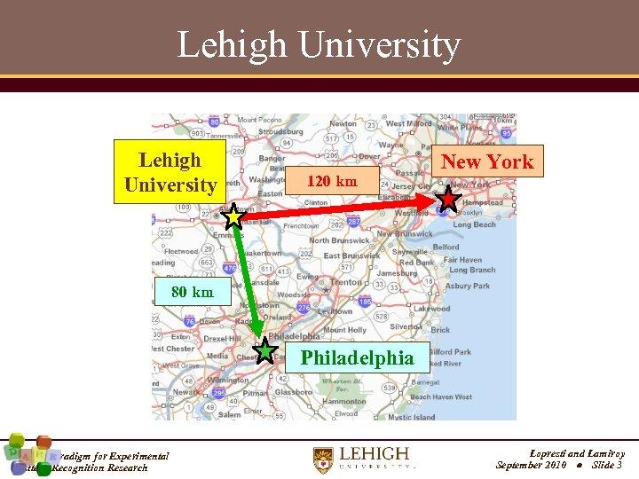 Lehigh University 120 km New York 80 km Philadelphia A New Paradigm for Experimental