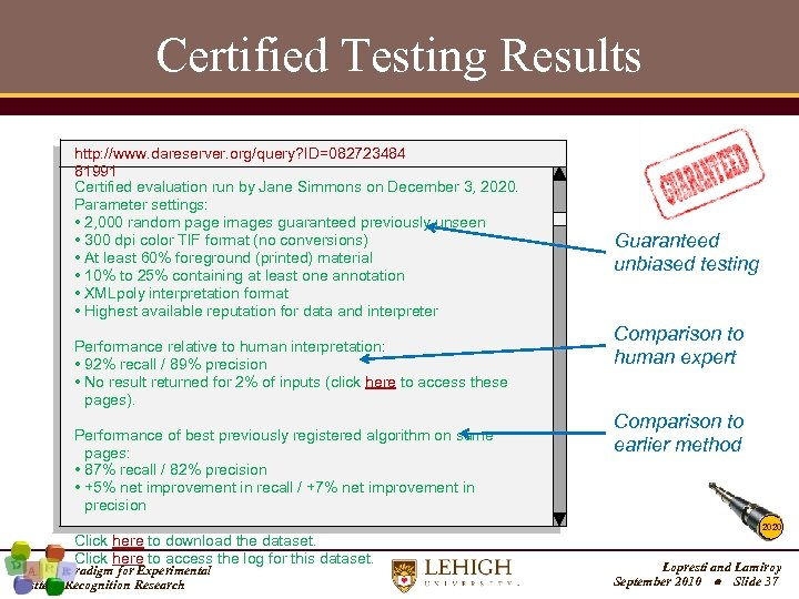 Certified Testing Results http: //www. dareserver. org/query? ID=082723484 81991 Certified evaluation run by Jane