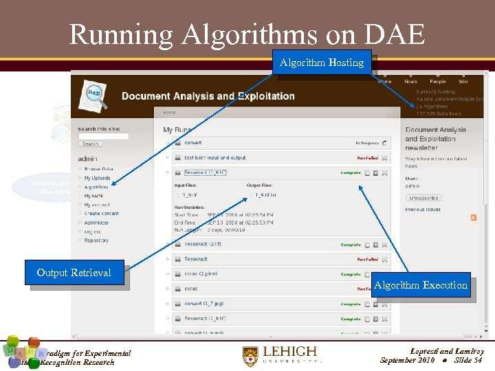 Running Algorithms on DAE Algorithm Hosting Community driven, maintained and monitored Access to referenced