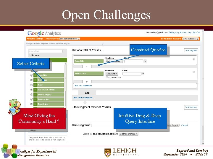 Open Challenges Construct Queries Select Criteria Mind Giving the Community a Hand ? A