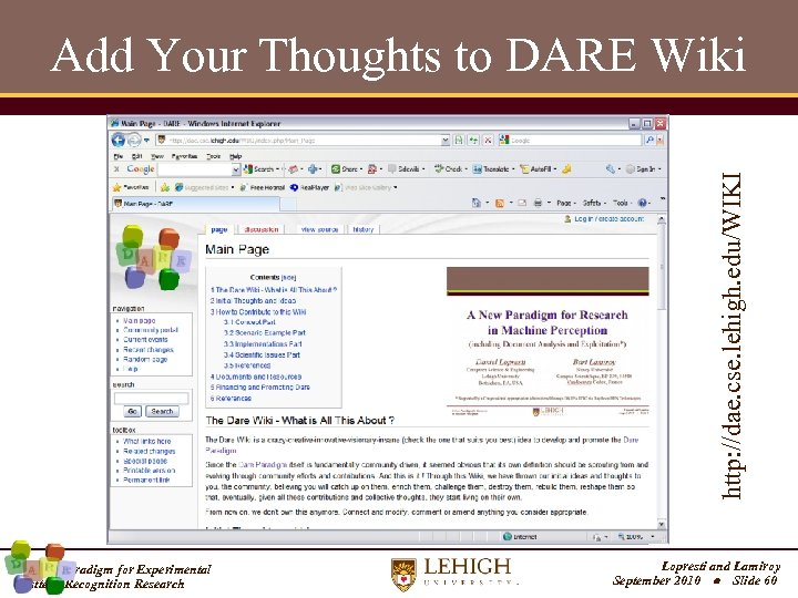 http: //dae. cse. lehigh. edu/WIKI Add Your Thoughts to DARE Wiki A New Paradigm